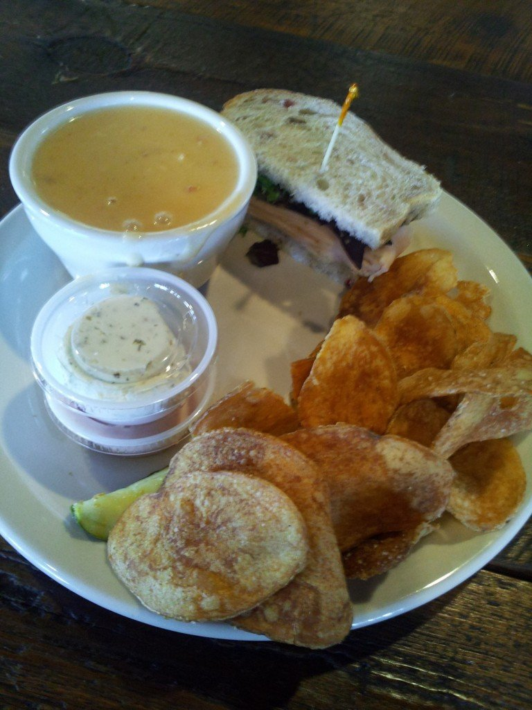 Smoked Turkey Sandwich and Lobster Bisque