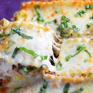 Chicken and artichoke lasagna recipe with basil