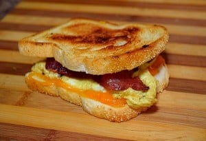 Toasted bacon egg and cheese breakfast sandwich