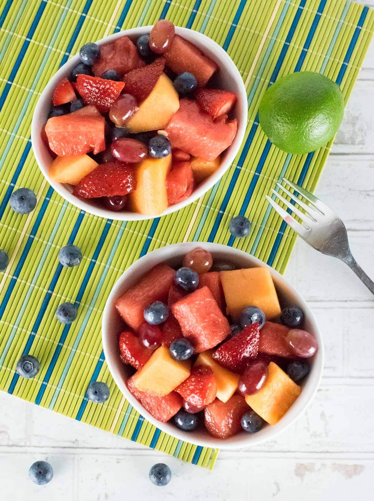 Best fruit for fruit salad - watermelon, blueberries, strawberries, melons, and grapes shown