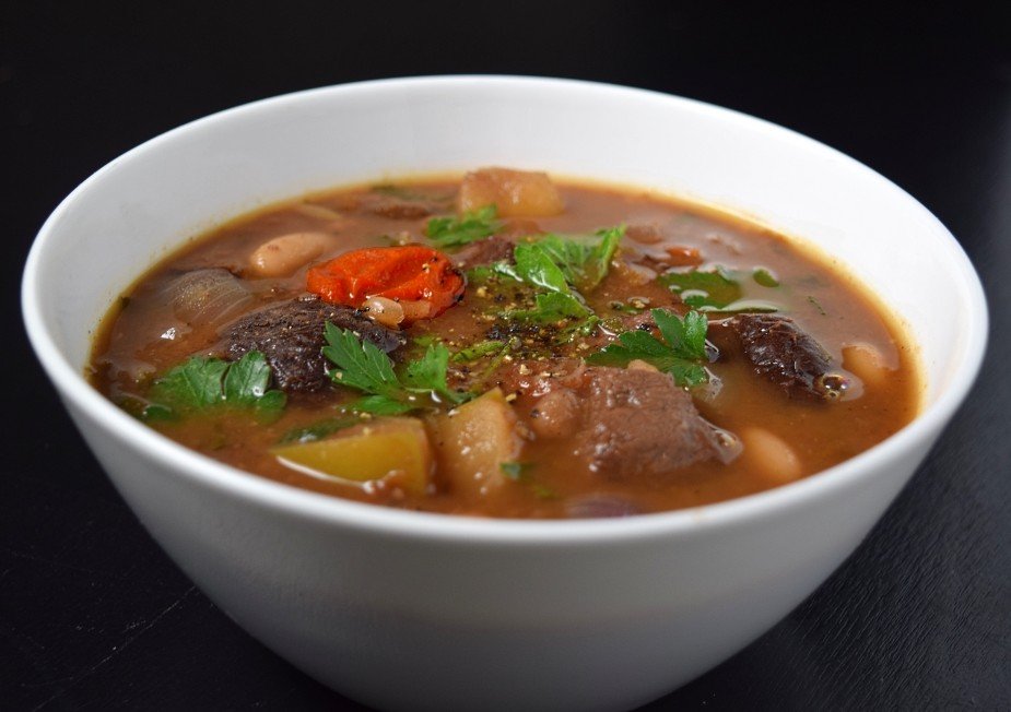 Hearty venison stew recipe in bowl