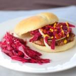 A Wisconsin brat burger recipe with sauerkraut