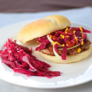 A Wisconsin brat burger recipe with sauerkraut