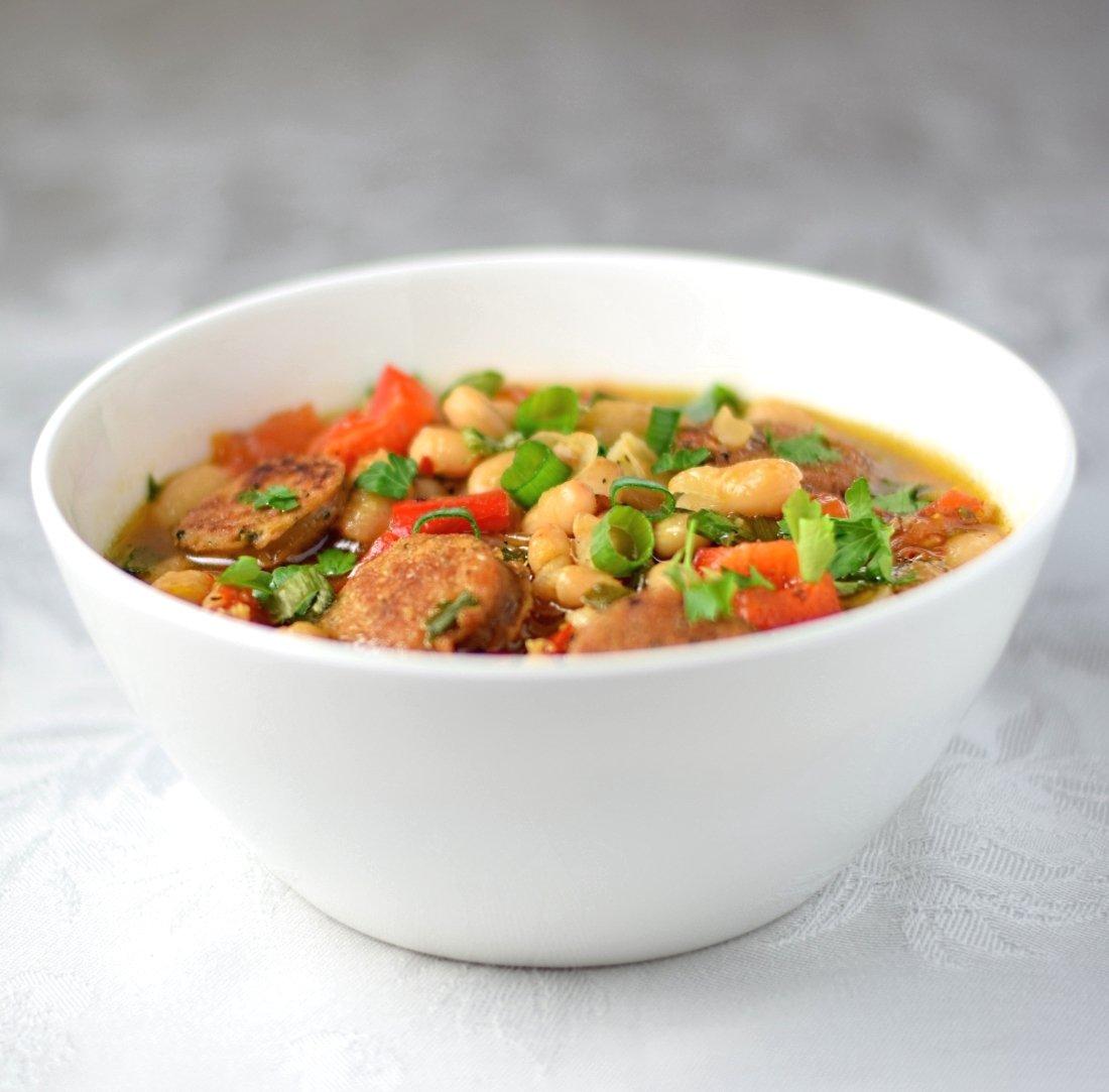 Hot bean and sausage salad recipe