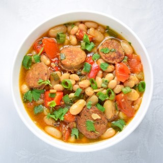 A deliciously simple hot bean and sausage salad
