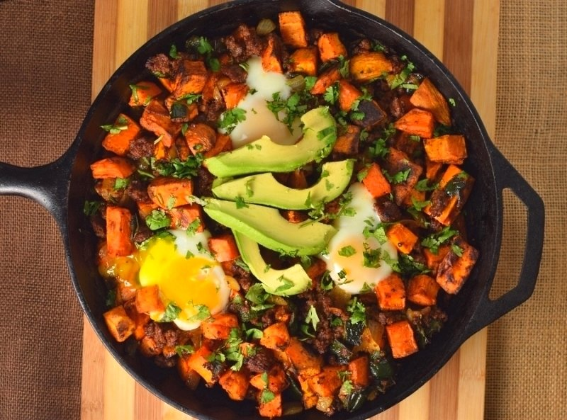 Chorizo Sweet Potato Hash with Eggs