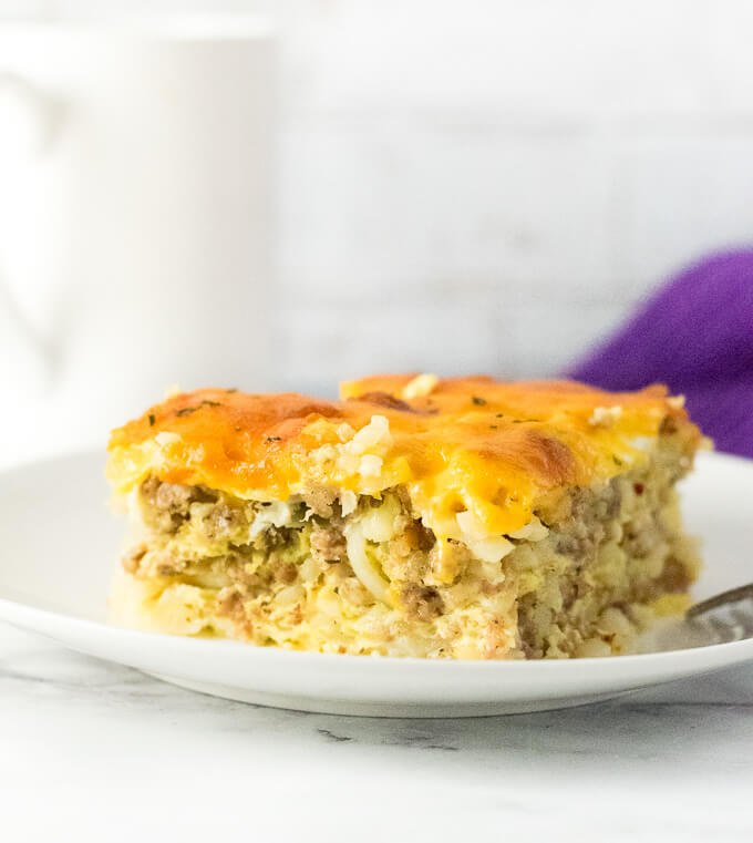 Sausage Hash Brown Breakfast Casserole with Egg and Cheese