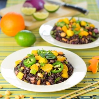Coconut and citrus black rice salad