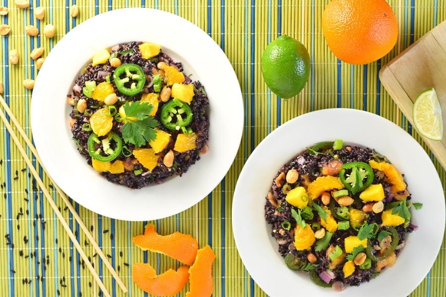 Coconut and citrus black rice salad recipe
