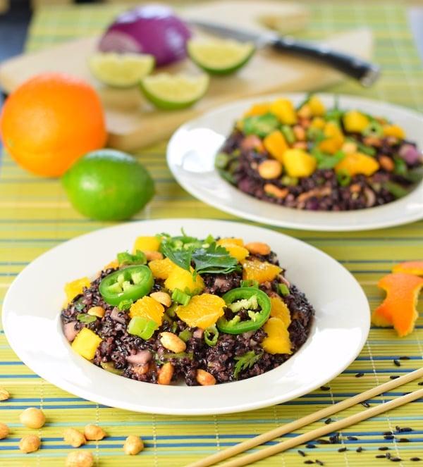 Coconut and citrus black rice salad