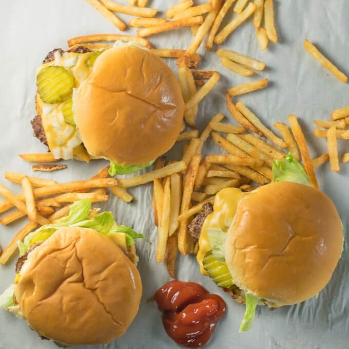 Fast Food Burger Recipe Overhead Shot with French Fries