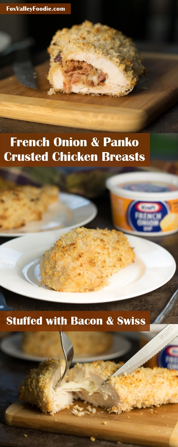 French Onion and Panko Crusted Chicken Breast with Swiss and Bacon