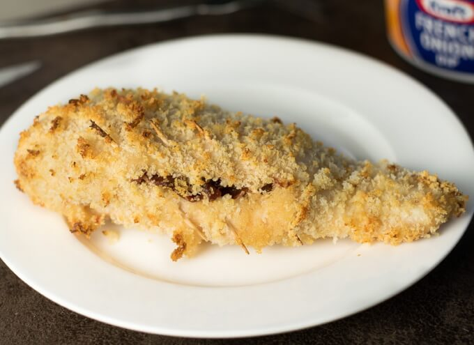 Panko Crusted Chicken Breast with Swiss cheese and bacon