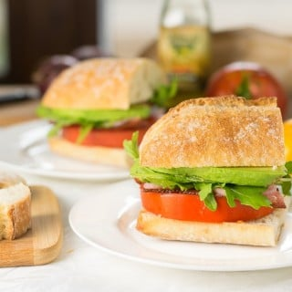 Marinated Tomato Gourmet BLT with Avocado and Arugula