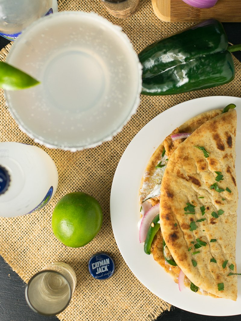 Ancho chicken flatbread sandwich with Cilantro and Lime