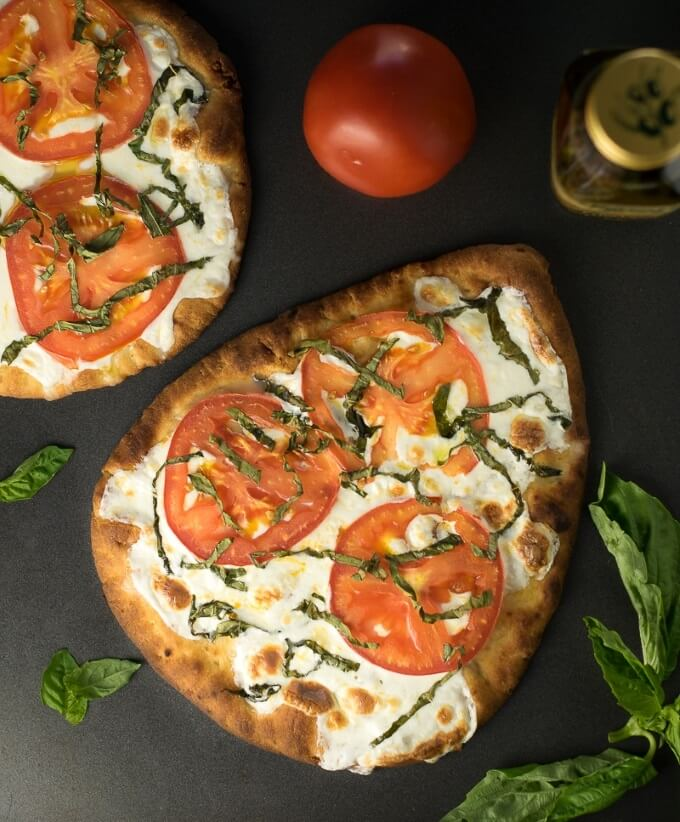 Easy Margherita Pizza on baking sheet