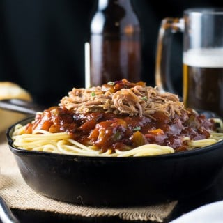 BBQ Spaghetti and Pulled Pork