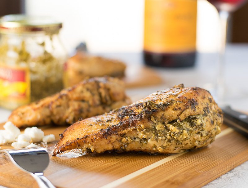 Feta and Pesto Stuffed Chicken Breasts