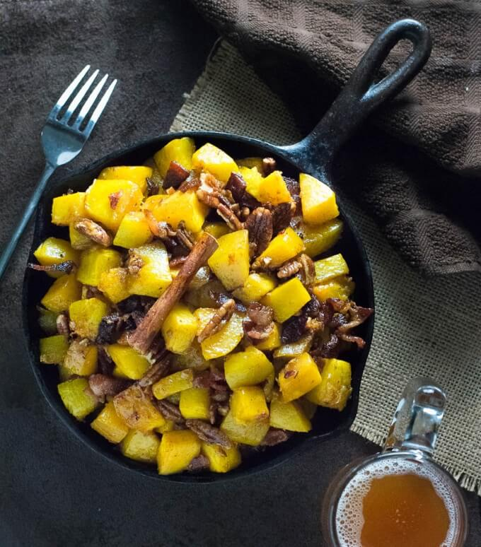 Maple and Bacon Roasted Squash with Pecans fall recipe