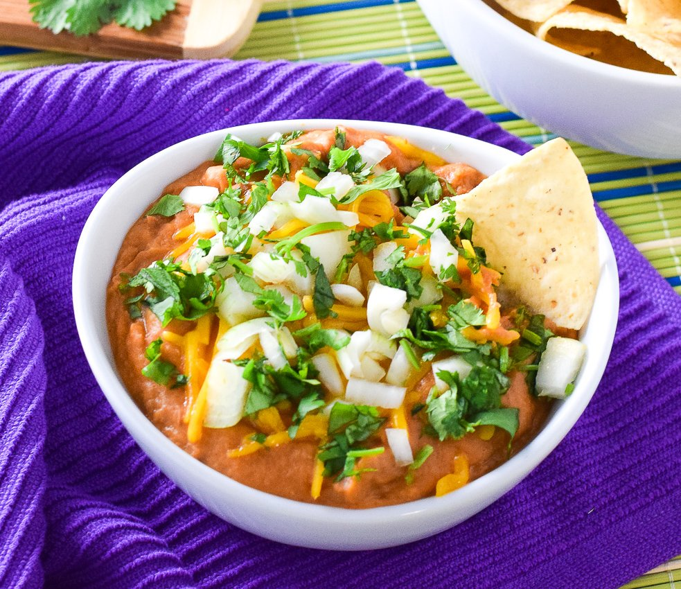 Cheesy Refried Bean Dip with Salsa