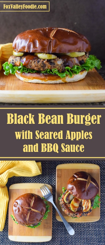 Black Bean Burger with Seared Apples and BBQ Sauce