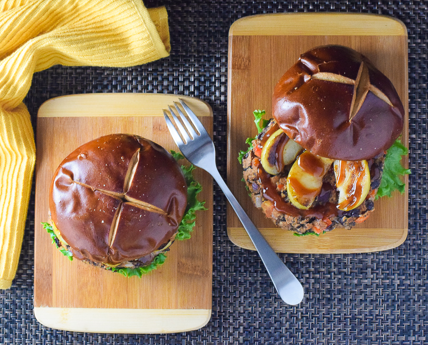 Black Bean Burger with Seared Apple and BBQ Sauce recipe