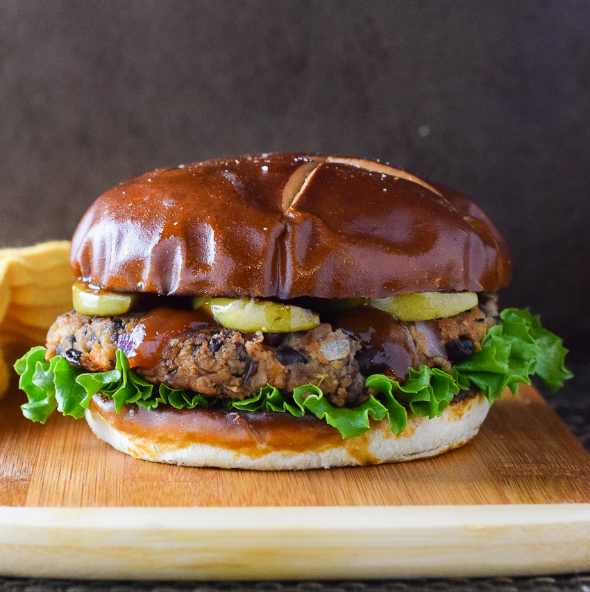 Black Bean Burger with Seared Apple and BBQ Sauce