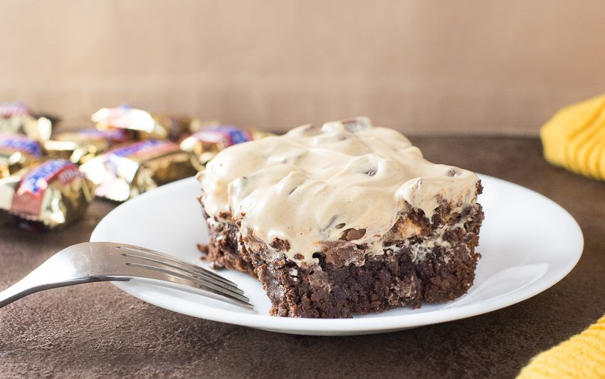 Snickers Brownies with Peanut Butter Frosting