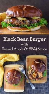 Black Bean Burger with Seared Apple and BBQ Sauce vegetarian recipe #vegetarian #healthy #burger #sandwich #lunch