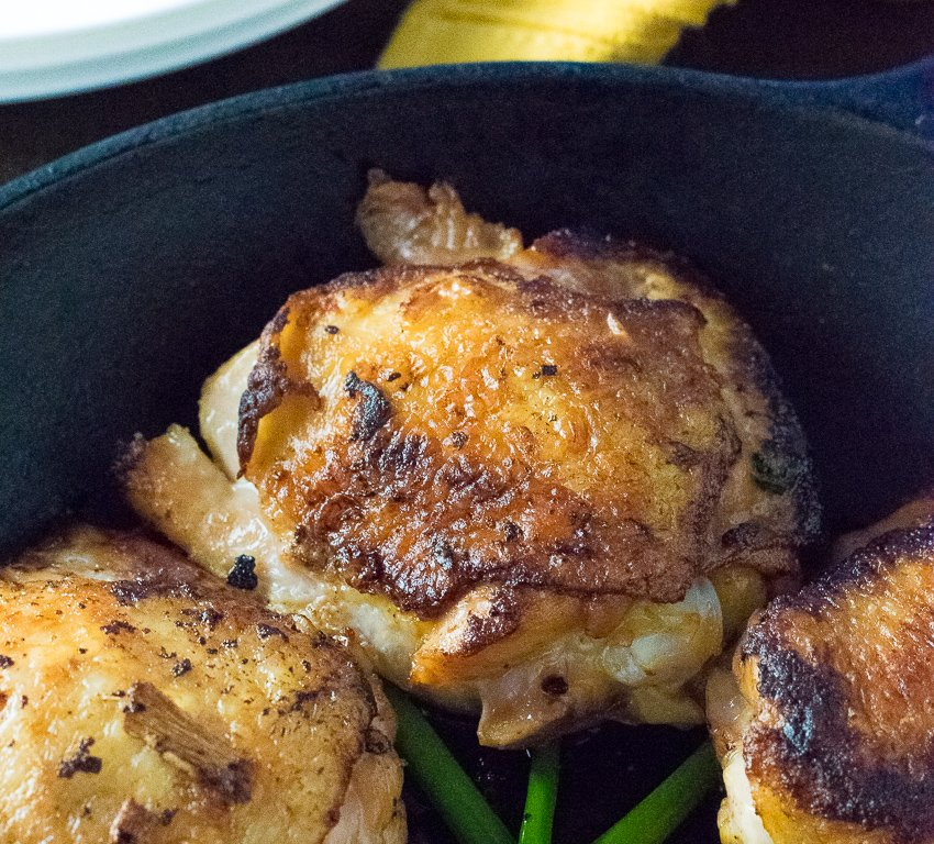 Crispy Soy Brined Chicken Thighs