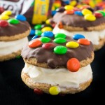 Chocolate Dipped M&M® Ice Cream Cookie Sandwiches