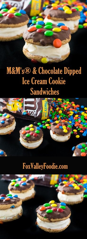 M&M's® & Chocolate Dipped Ice Cream Cookie Sandwiches