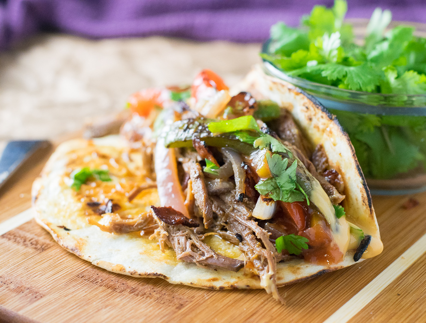 Queso and Bacon Shredded Beef Tacos