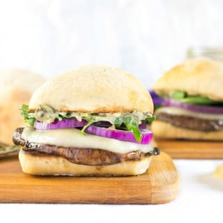 Portabella Mushroom Burger with Pesto and Arugula