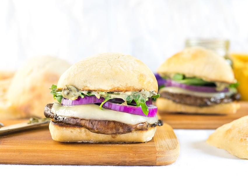 Portabella Mushroom Burger With Pesto Mayo And Arugula Fox Valley Foodie