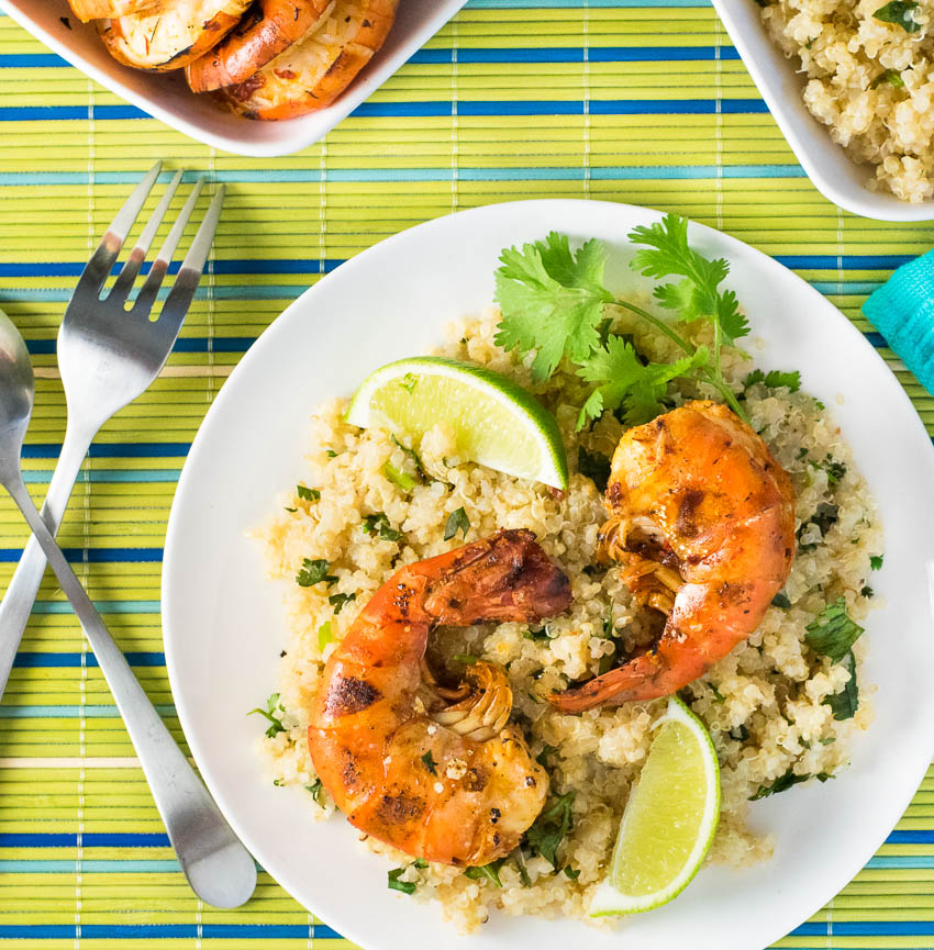 Grilled Jumbo Shrimp with Cilantro Lime Quinoa