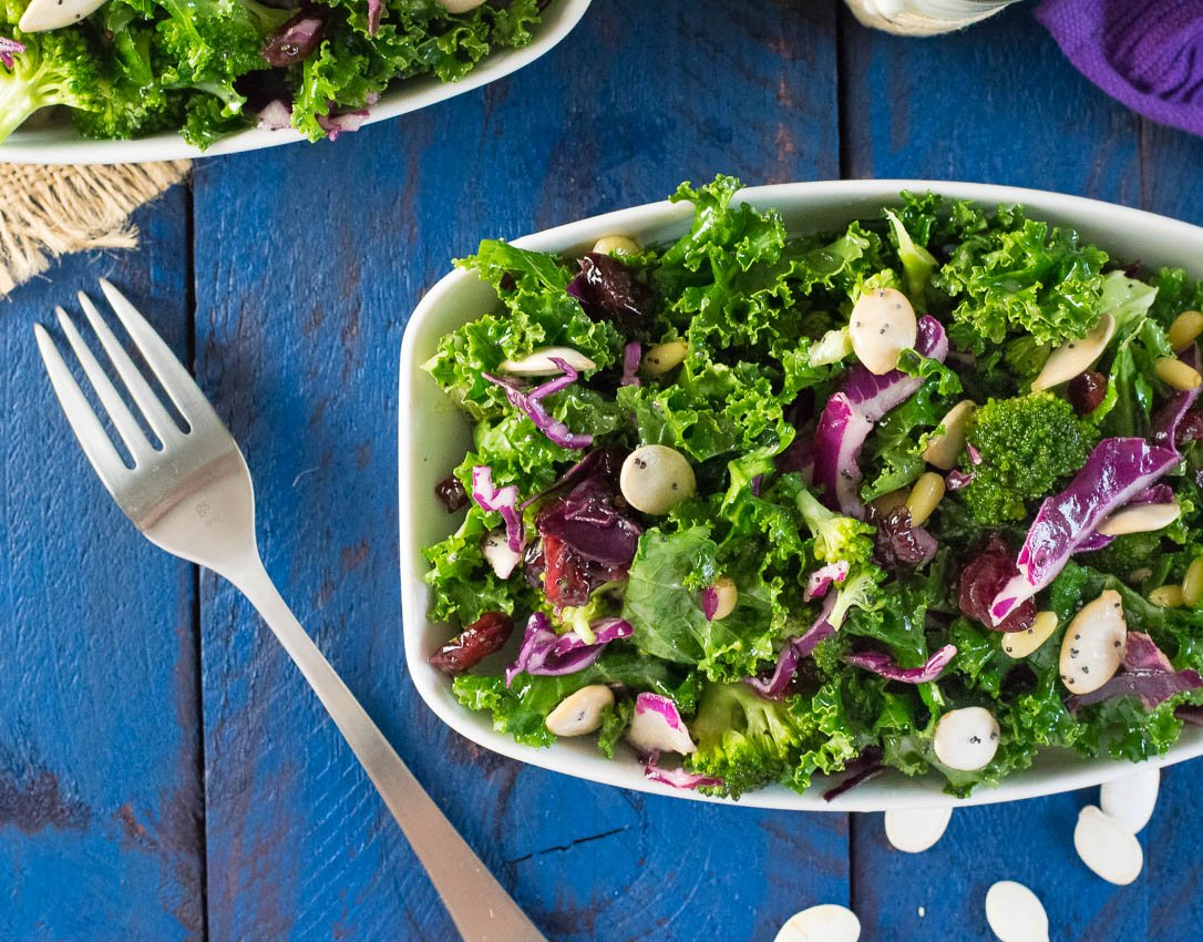 Kale and Broccoli Salad with Poppyseed Dressing Recipe