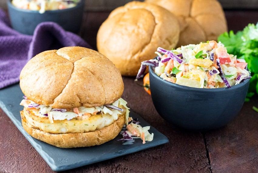 Caribbean Coleslaw with Trident Alaskan Pollock Burgers Recipe