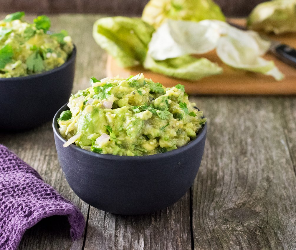 Roasted Tomatillo Guacamole - Fox Valley Foodie