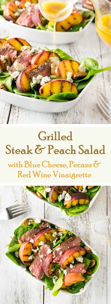 Grilled Steak and Peach Salad with Blue Cheese Pecans & Red Wine ...