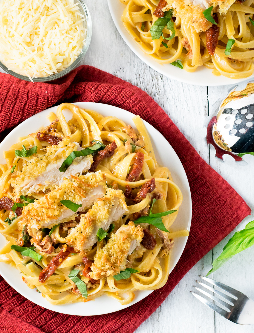 Sundried Tomato Alfredo with Parmesan Crusted Chicken Recipe