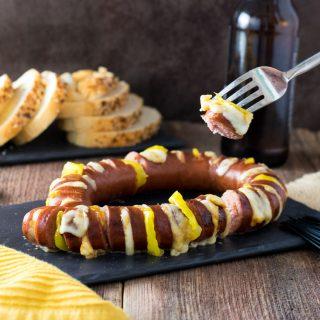 Cheesy Hasselback Sausage