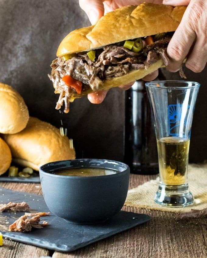 Juice dripping off Chicago Italian Beef Sandwich with Giardiniera