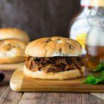 Easy Crock Pot Honey BBQ Chicken Sandwich