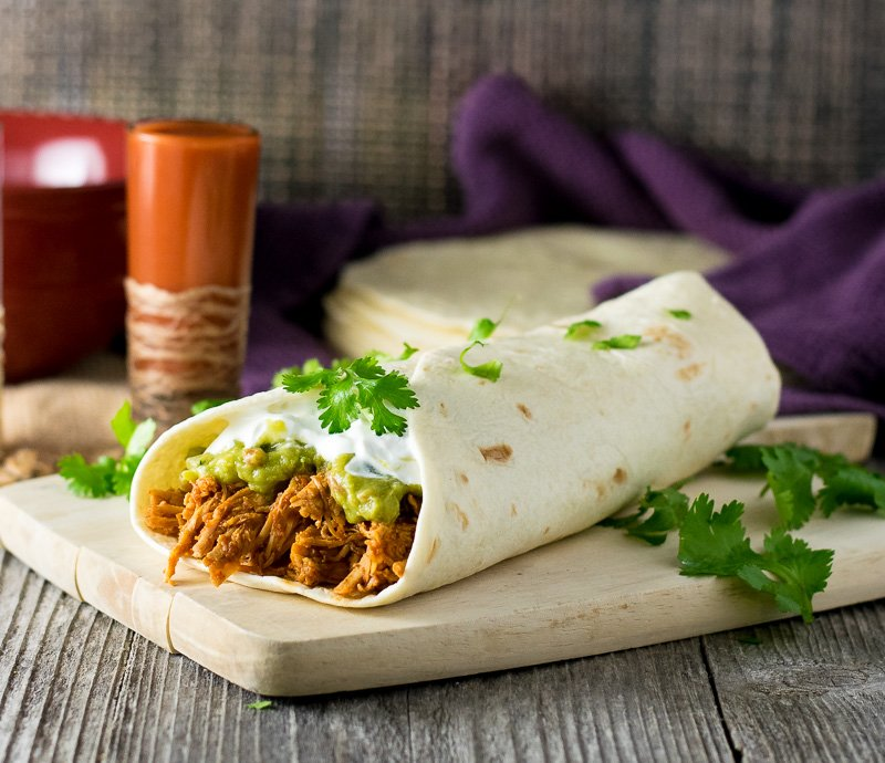 Shredded Chicken Burrito with Guacamole Filling