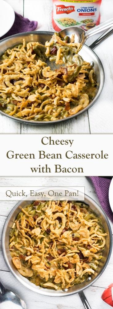 Cheesy Green Bean Casserole with Bacon Recipe