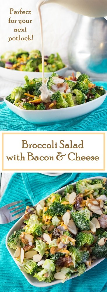 Broccoli Salad with Bacon and Cheese recipe. Perfect for your next potluck.