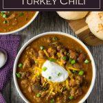 Slow Cooker Turkey Chili Recipe #crockpot #chili #turkey #healthy