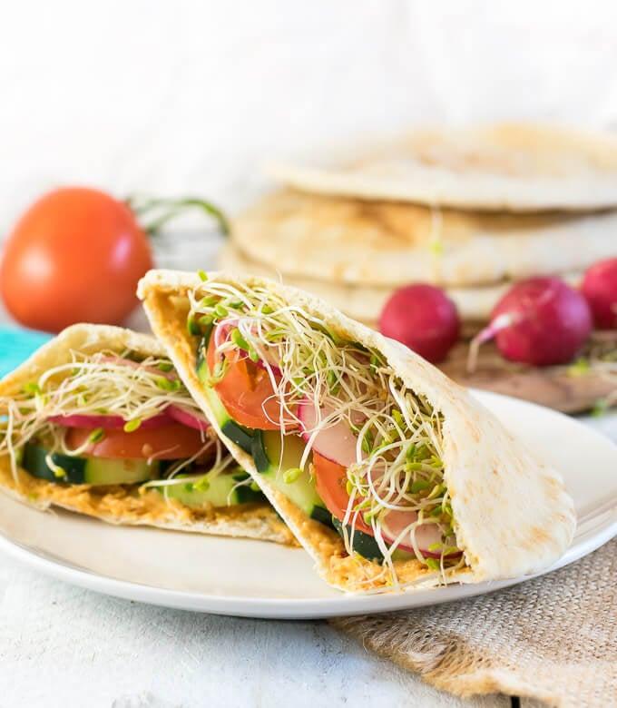 Healthy Pita Sandwich on plate