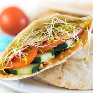 Veggie hummus pita sandwich